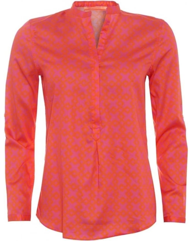 Vilagallo Womens Carina Shirt, Elba Orange Geometric Pink V-Neck Blouse