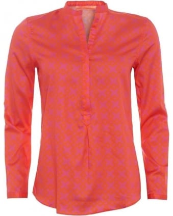 Womens Carina Shirt, Elba Orange Geometric Pink V-Neck Blouse