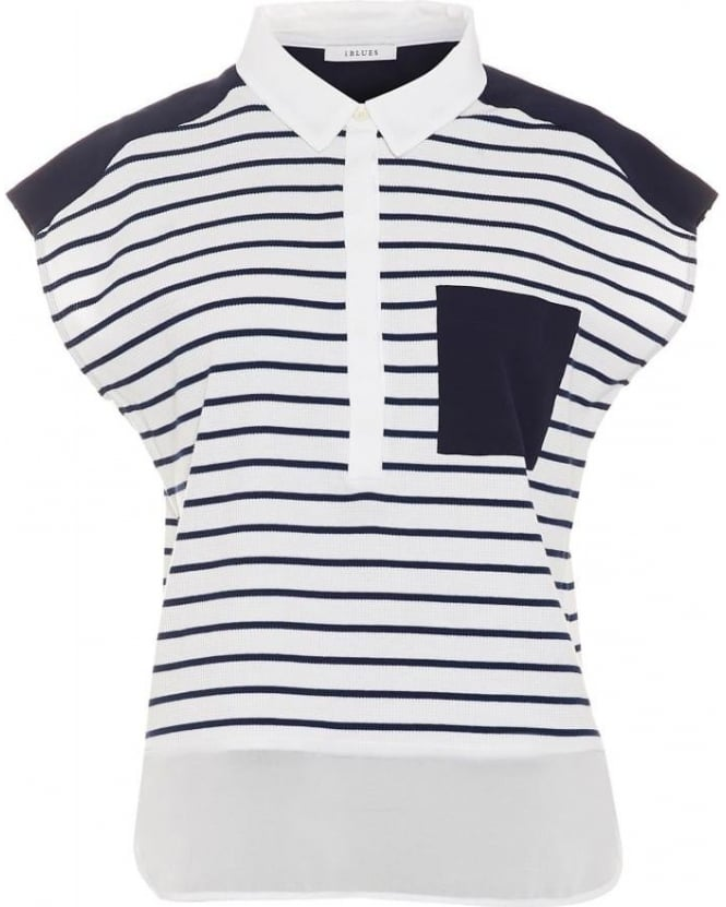 I Blues Womens Cartone T-Shirt, Navy White Stripe Pocket Top