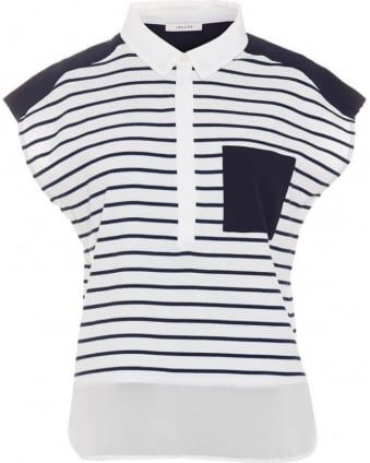 Womens Cartone T-Shirt, Navy White Stripe Pocket Top