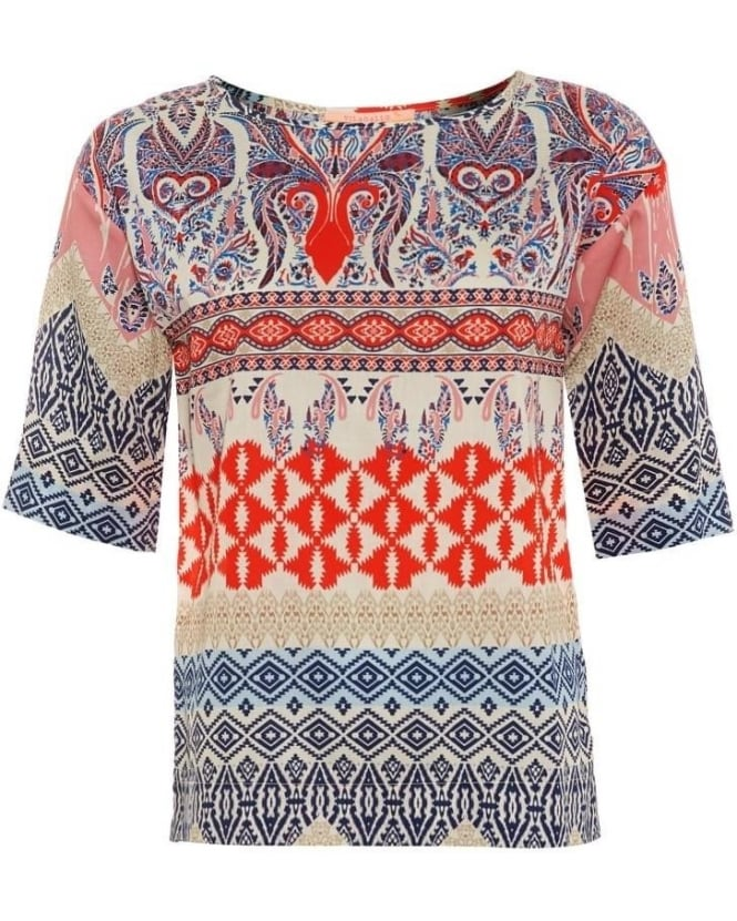 Vilagallo Womens Casandra T-Shirt, Brandano Print Navy Orange Top