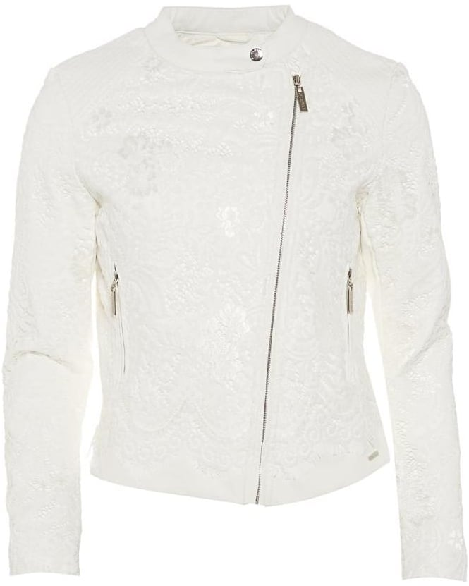Rino and Pelle Womens Courtney Jacket, White Lace Asymmetric Coat