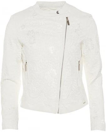 Womens Courtney Jacket, White Lace Asymmetric Coat