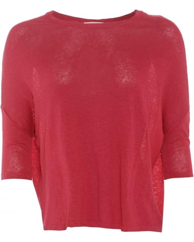 American Vintage Womens Dearborn T-Shirt, Dark Pink Hibiscus Slouch Linen Top