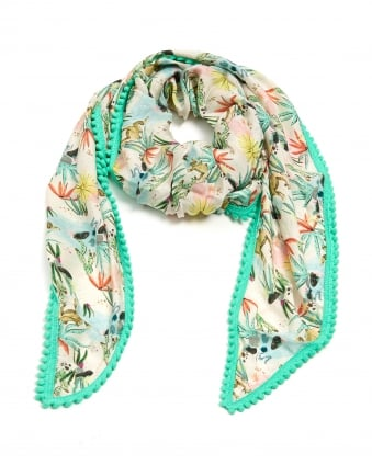 Womens Desert World Print Shawl, Pom Pom Edge Cream Mint Scarf