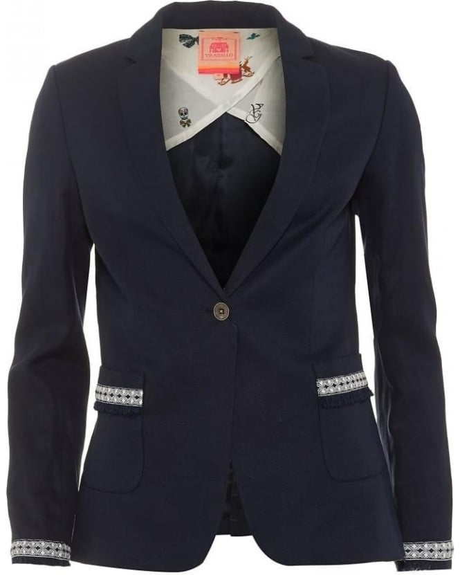 Vilagallo Womens Diane Blazer, Irish Navy Blue Geometric Trim Jacket
