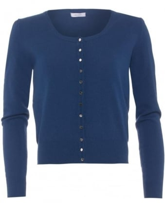 Womens Divas Cardigan, Navy Blue Button Down Knitwear