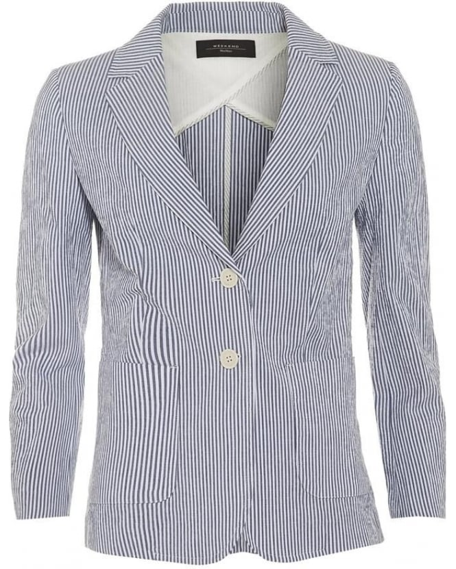 Max Mara Weekend Womens Dolce Blazer, Blue Stripe Jacket