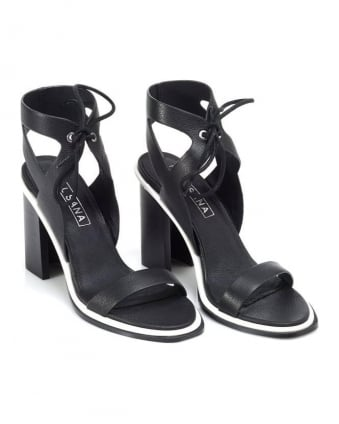 Womens Dolly Heel, Black Ankle Strap Leather Sandals