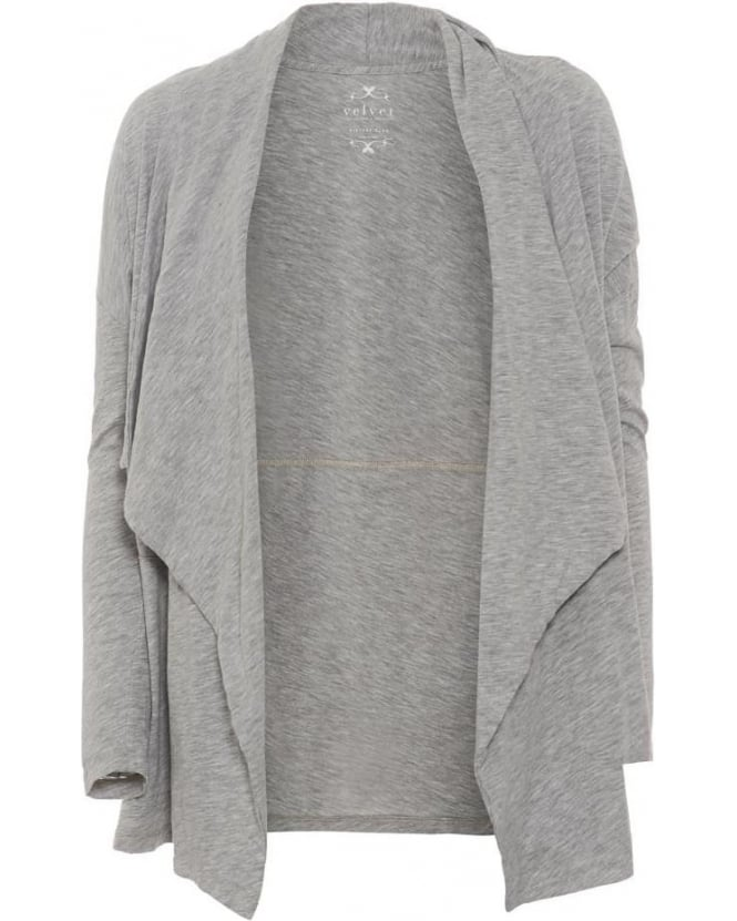 Velvet by Graham & Spencer Womens Drape Cardigan Emanuela Heather Grey
