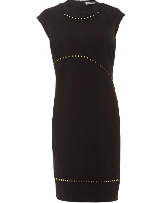 Versace Collection Womens Dress Black Studded Cut Out Dress