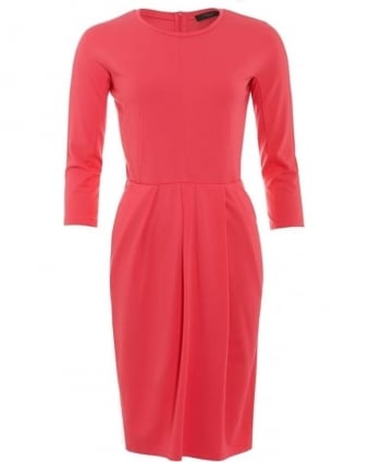 Womens Dress Edy Three Quarter Sleeve Pleat Pink Dress