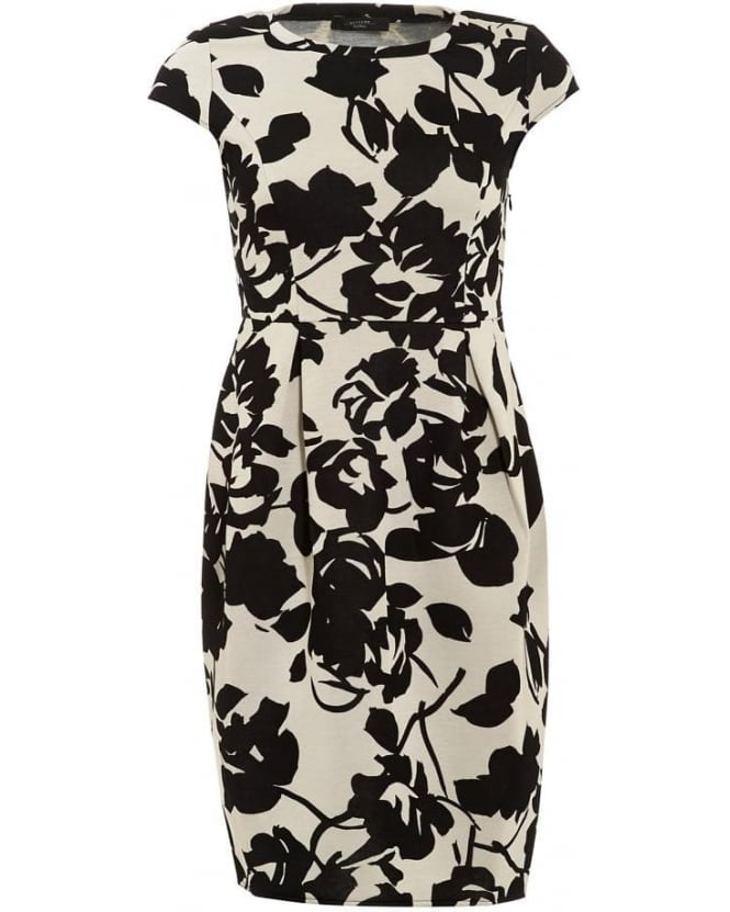 Max Mara Weekend Womens Dress Floral Print Tulip Monochrome Midi Dress