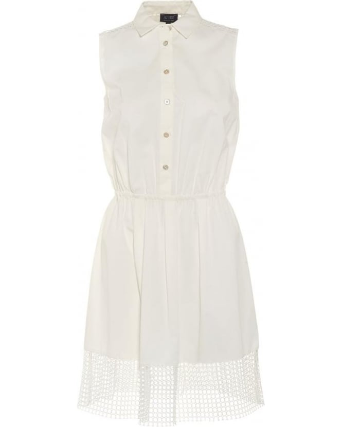Armani Jeans Womens Dress, White Mesh Trim Sleeveless Shirt Dress