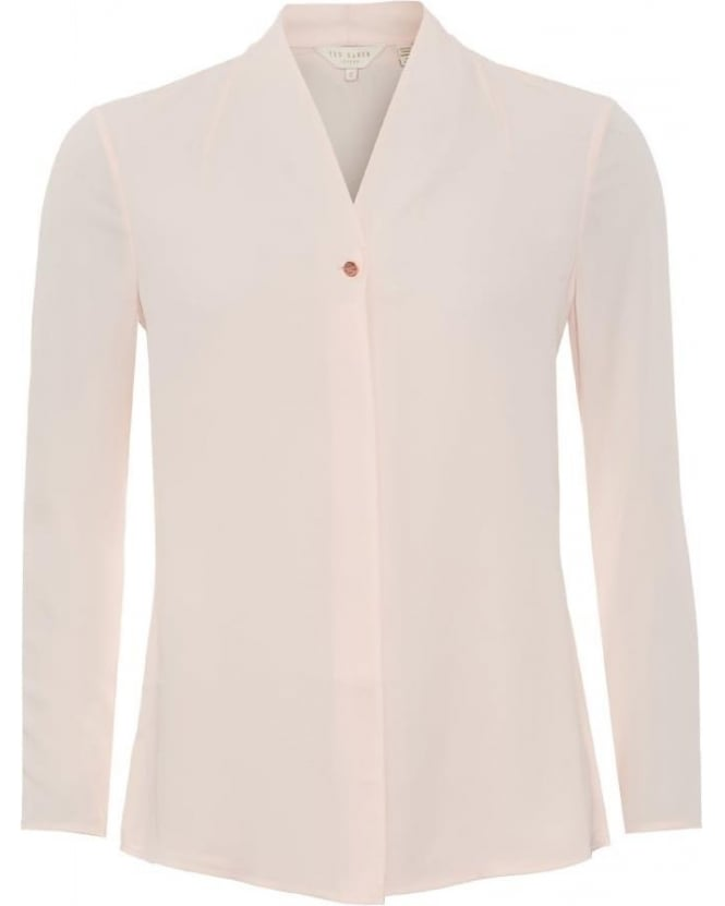Ted Baker Womens Elizaa Shirt, Baby Pink Zip Blouse