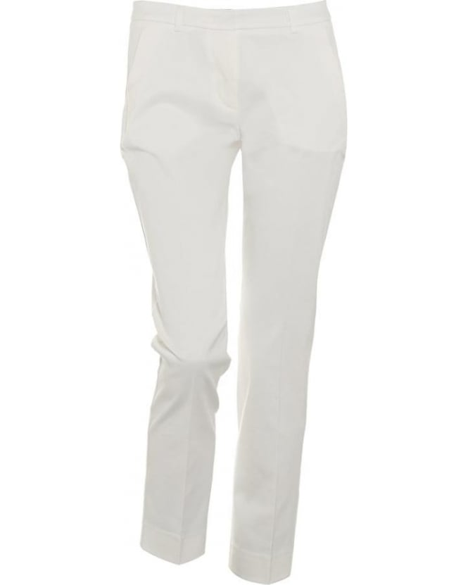Max Mara Weekend Womens Emilia Trousers, White Cropped Cigarette Trouser