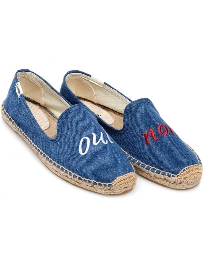 Soludos Womens Espadrille, Oui Non Navy Blue Smoking Slipper