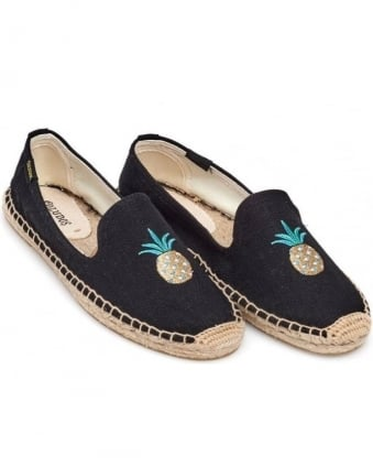 Womens Espadrille, Pineapple Black Smoking Slipper