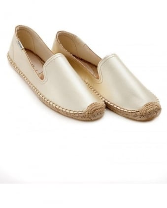 Womens Espadrille, Silver Metallic Leather Smoking Slipper