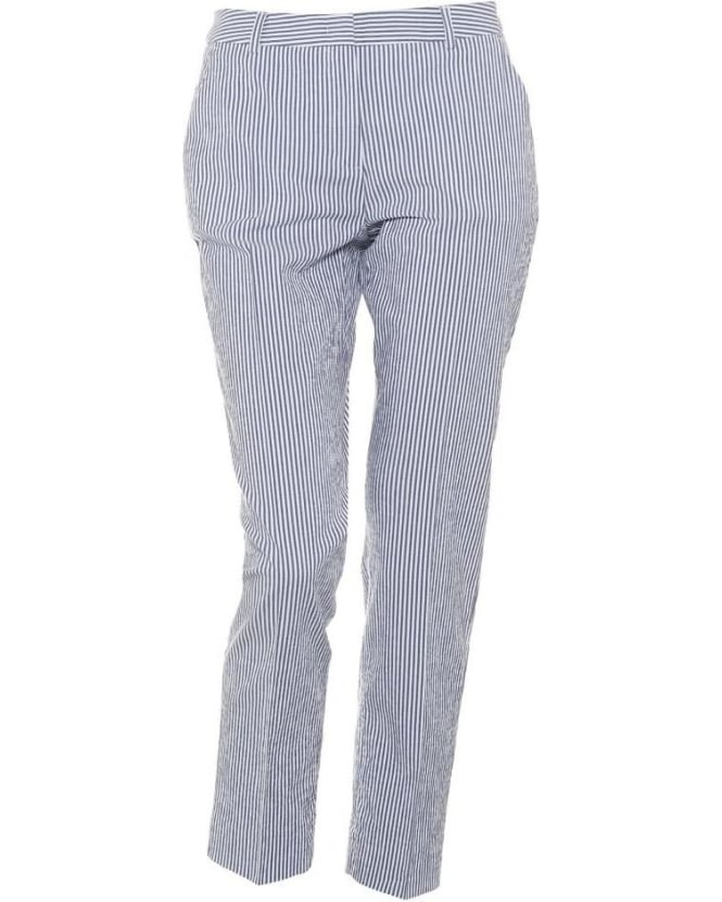 Max Mara Weekend Womens Eureka Trousers, Navy Striped Cigarette Trouser