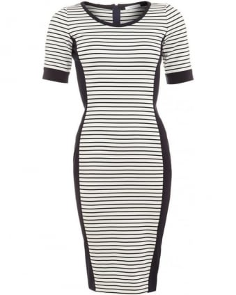 Womens Fiordi Dress, Navy White Stripe Contrast Panel Midi