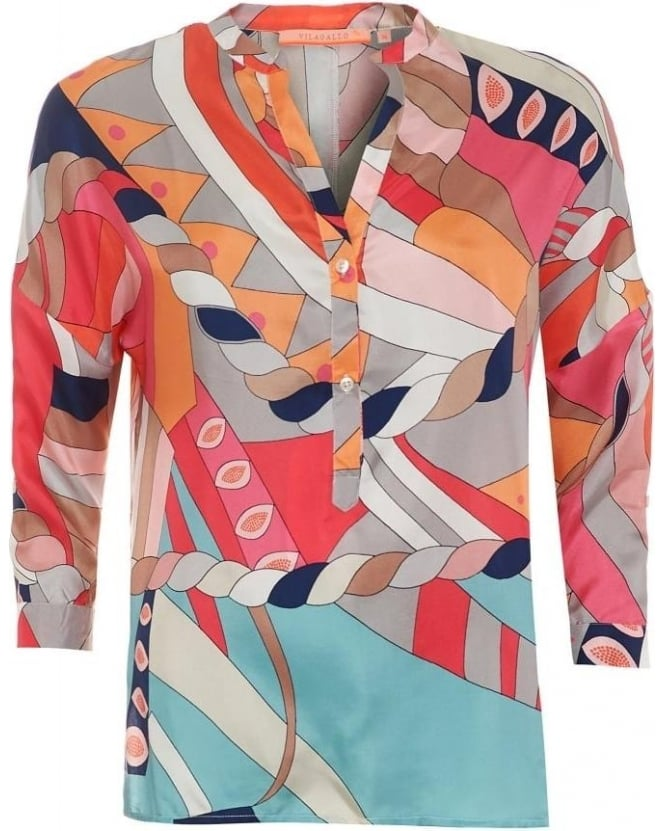 Vilagallo Womens Flavia Shirt, Multicoloured Abstract Print V-Neck Blouse