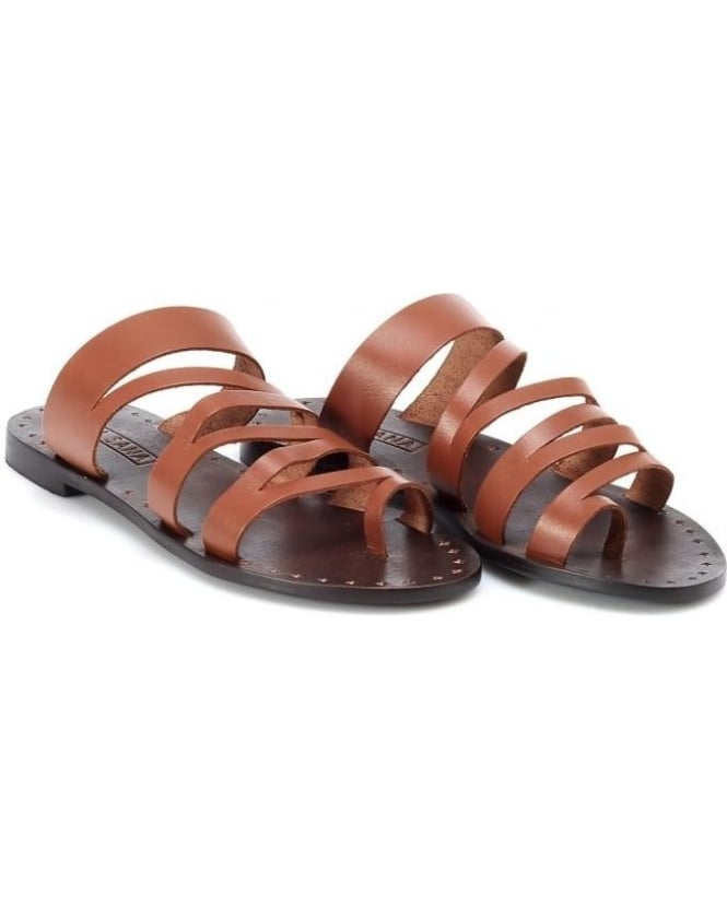 Sol Sana Womens Flic Sandal, Tan Brown Leather Strap Sandals