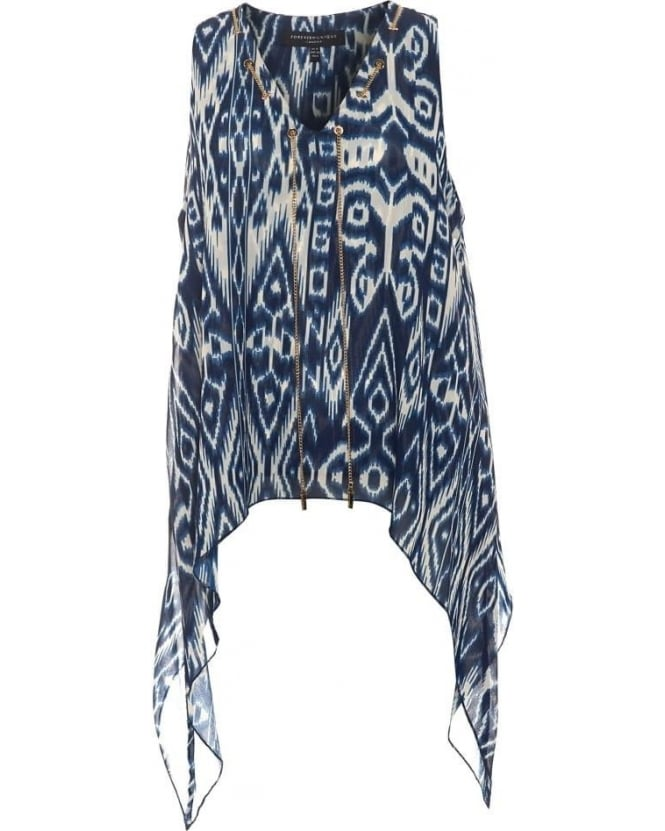 Forever Unique Womens Folk Top, Blue Tribal Print Chain Blouse