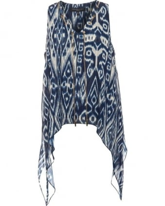 Womens Folk Top, Blue Tribal Print Chain Blouse
