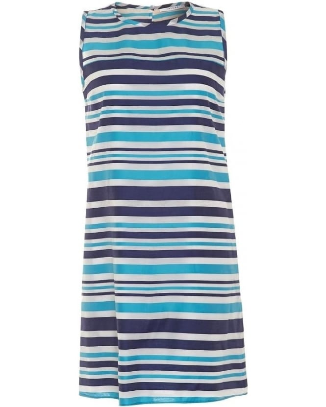 I Blues Womens Gedda Dress, Blue Stripe Silk Blend Sleeveless Shift Dress
