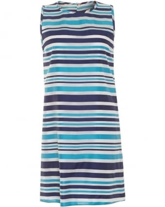 Womens Gedda Dress, Blue Stripe Silk Blend Sleeveless Shift Dress