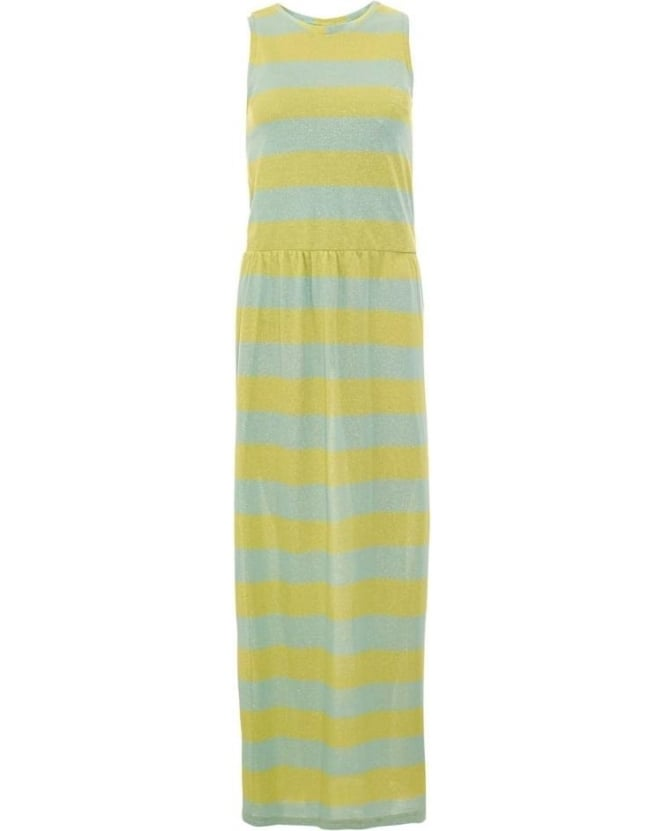 I Blues Womens Giunco Dress, Yellow Blue Striped Long Maxi Dress