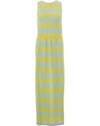 Womens Giunco Dress, Yellow Blue Striped Long Maxi Dress