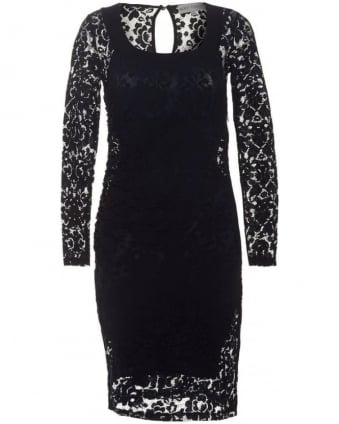 Womens Grace Dress, Navy Blue Brocade Lace Dress
