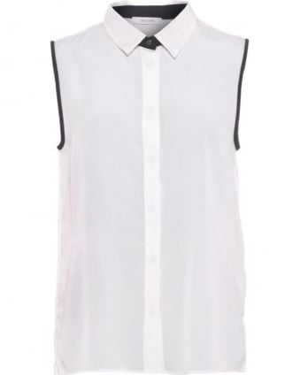 Womens Incenso Shirt, White Sleeveless Blouse