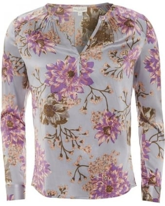 Womens Irene Tunic, Floral Print Silk Blouse