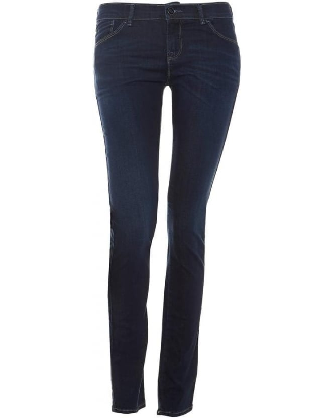 Armani Jeans Womens J23 Jean, Push Up Mid Dark Blue Skinny Denim