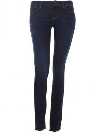 Womens J23 Jean, Push Up Mid Dark Blue Skinny Denim