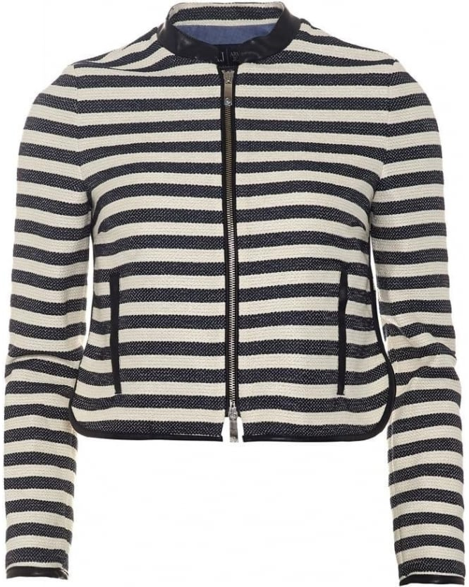 Armani Jeans Womens Jacket, Navy Blue White Striped Tweed Jacket