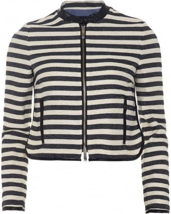 Womens Jacket, Navy Blue White Striped Tweed Jacket