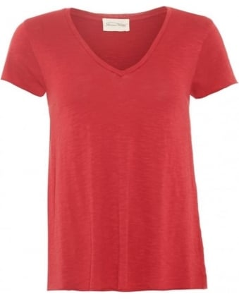 Womens Jacksonville T-Shirt V-Neck Red Berry Tee