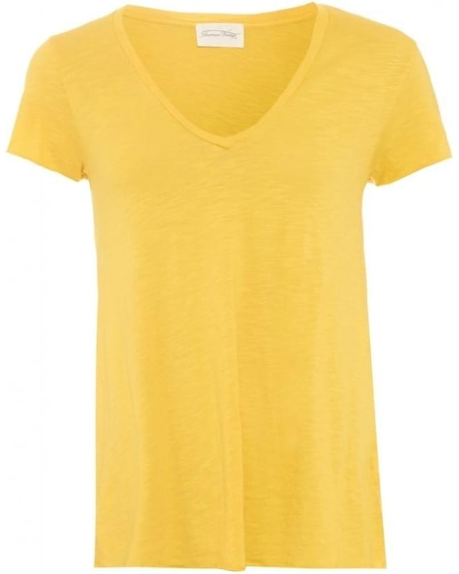 American Vintage Womens Jacksonville T-Shirt V-Neck Yellow Buttercup Tee