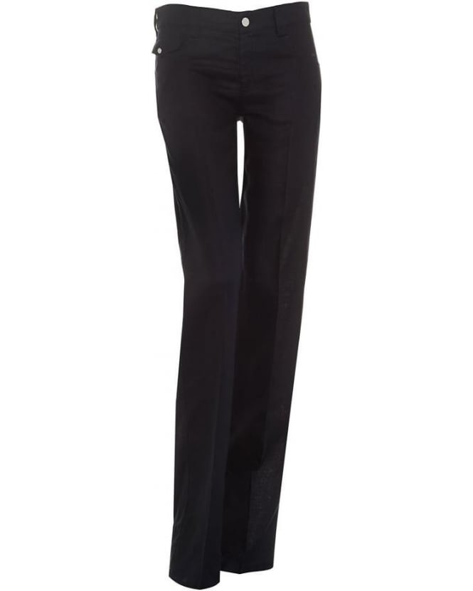 Armani Jeans Womens Jeans Navy Blue Linen Trousers