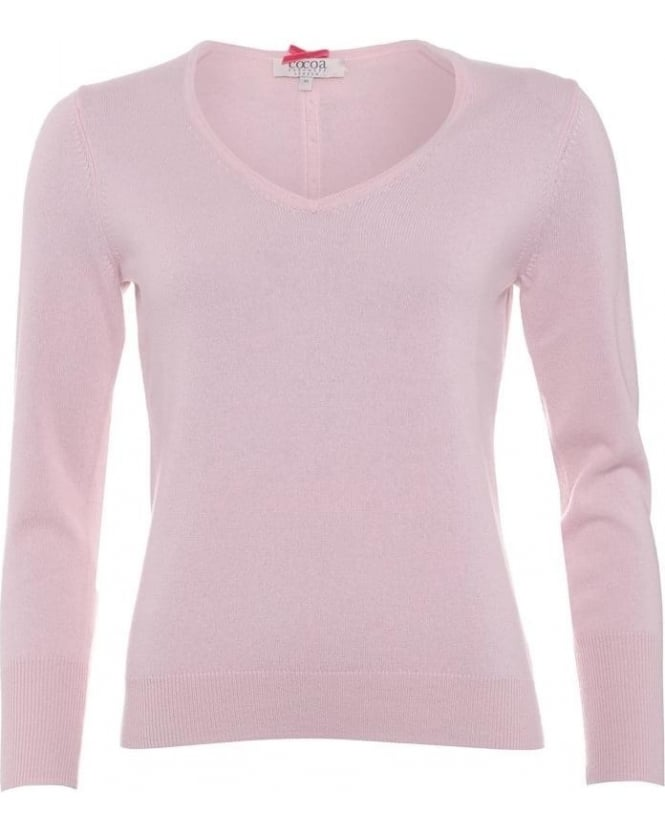 Cocoa Cashmere Womens Jumper, Essential V-Neck Baby Pink