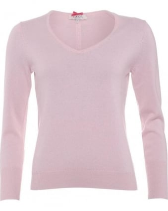 Womens Jumper, Essential V-Neck Baby Pink