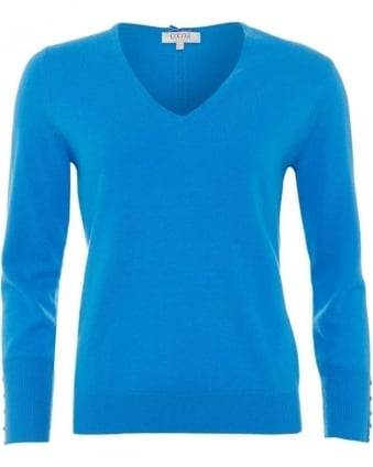 Womens Jumper, Essential V-Neck Light Cobalt Blue