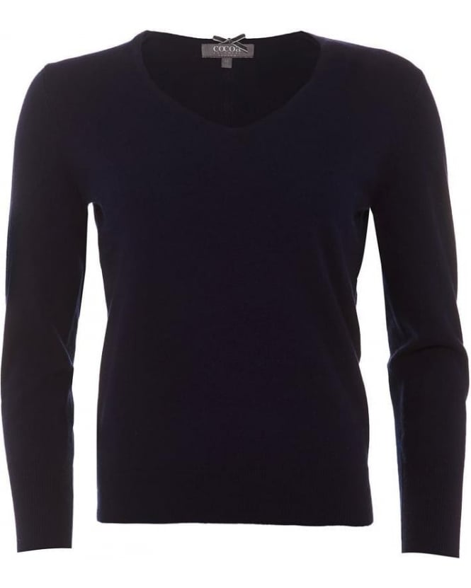Cocoa Cashmere Womens Jumper, Essential V-Neck Navy Blue