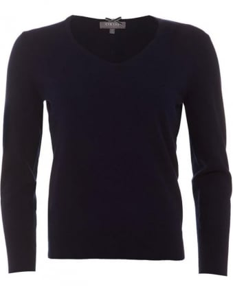 Womens Jumper, Essential V-Neck Navy Blue
