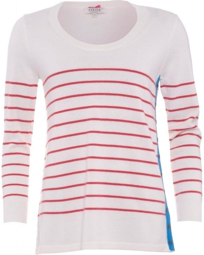 Cocoa Cashmere Womens Jumper, Red Chalk White Striped