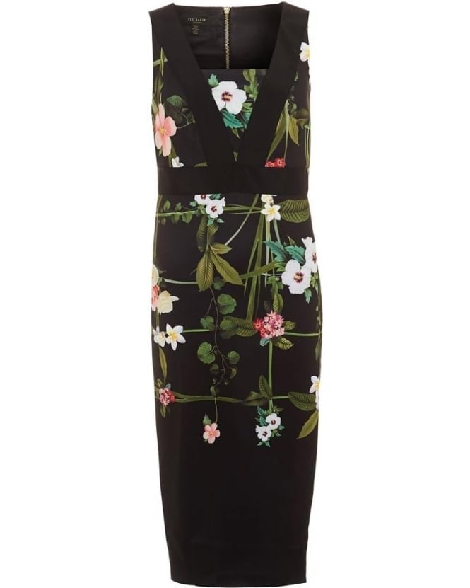 Ted Baker Womens Kacied Dress, Bodycon Secret Trellis Print